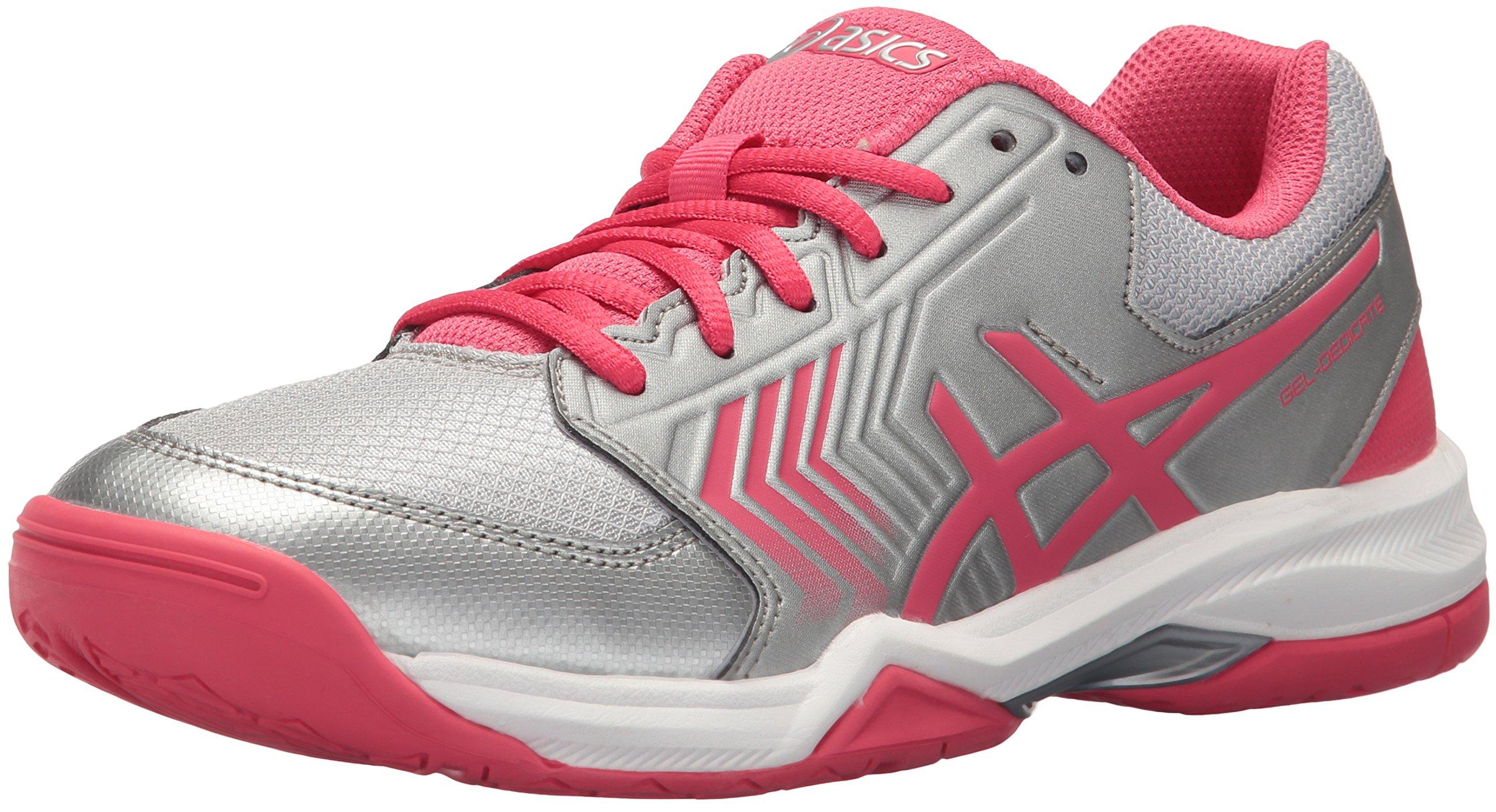 ASICS Women's Gel-Dedicate 5 Tennis Shoe, Silver/Rouge Red/White, 8 Medium US