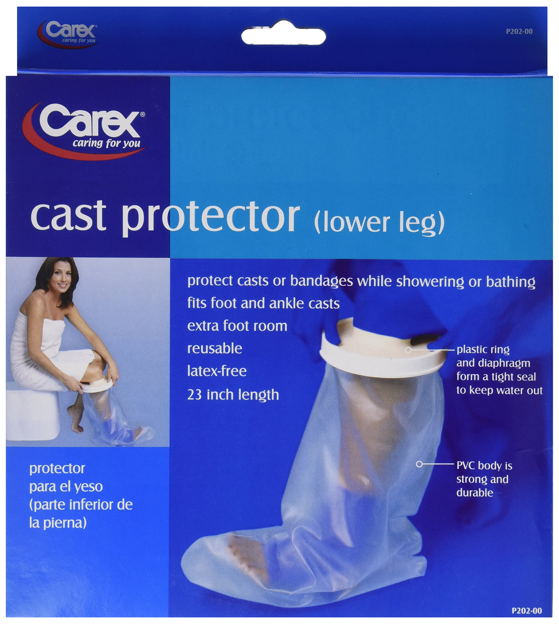 Carex Cast Protector Lower Leg, Protects Lower Leg Casts and Bandages while Showering, Latex Free Plastic with a Tight-Sealing Plastic Ring & Diaphragm