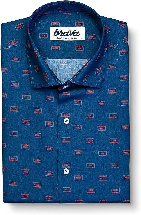 Brava Fabrics   Camisa Hombre Manga Larga Estampada   Camisa Azul para Hombre   Camisa Casual Regular Fit   100% Algodón   Modelo MAX Mix Tape   Talla: Amazon.es: Ropa y accesorios