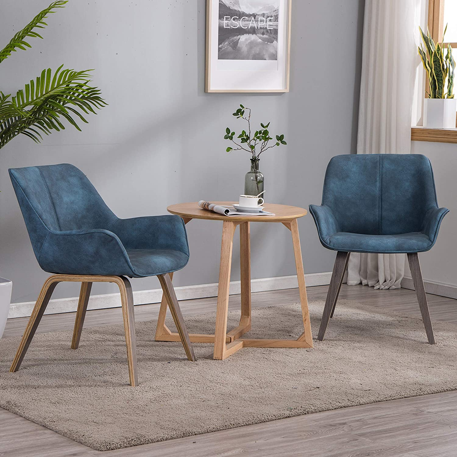 YEEFY Blue Leather and Wood Oak Living Room Chairs Upholstered Accent  Chairs Set of 5 (Blue)