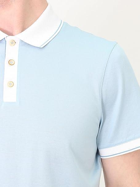 ae18b2f5309fc7 Ted Baker Staffy Contrast Collar Polo - Light Blue XL Light Blue   Amazon.co.uk  Clothing