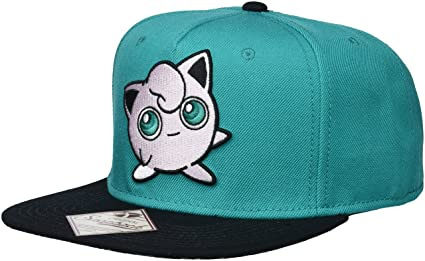 98d93130394118 Image Unavailable. Image not available for. Color: bioWorld Pokemon  Jigglypuff Embroidered Snapback Cap Hat, Turquoise