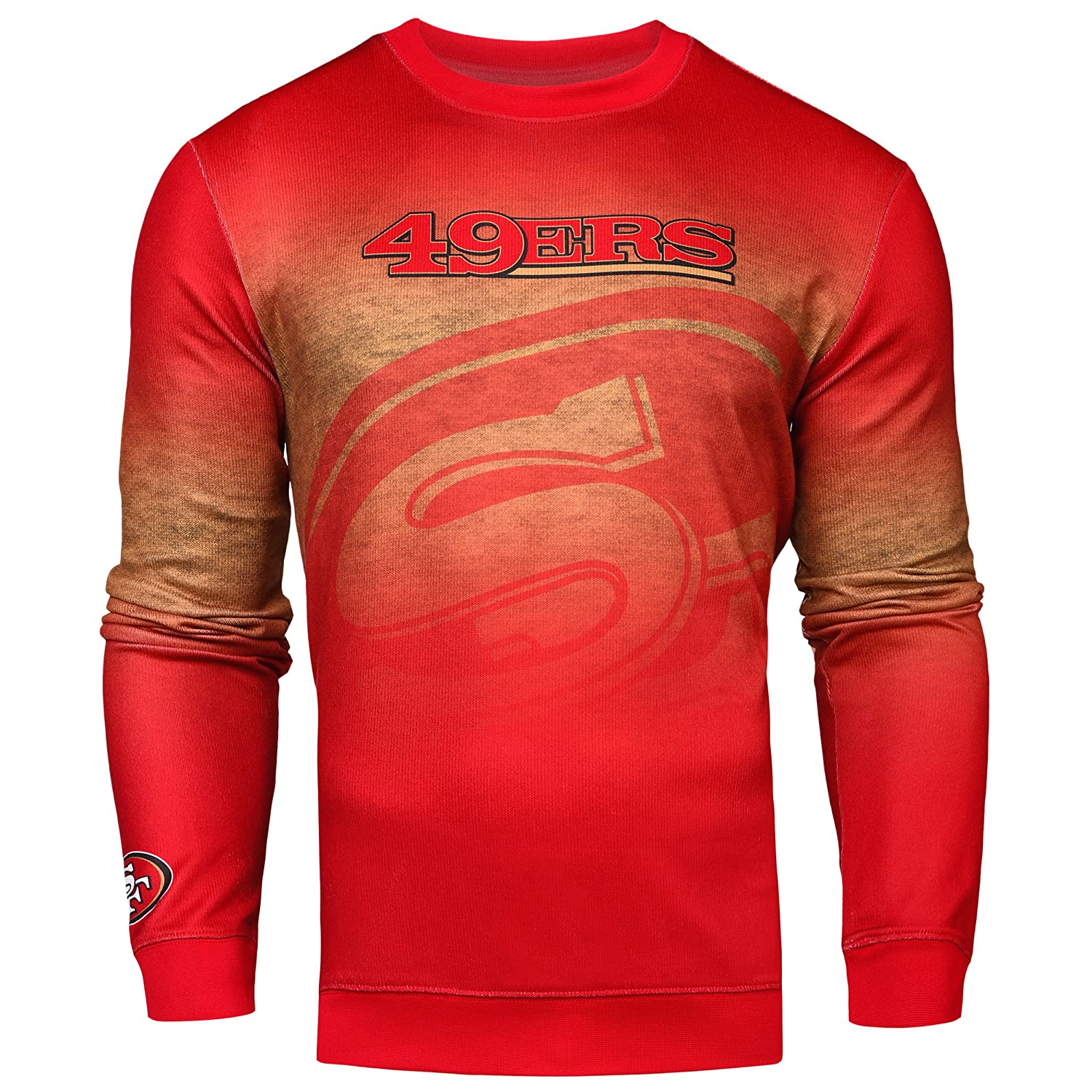 Mens Extra Large San Francisco 49ers Printed Gradient Crew Neck Sweater