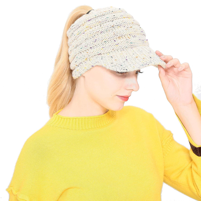 42690e97d Green Billow Women's Ponytail Beanie Warm Knit Hat High Bun Visor Cap  Outdoor