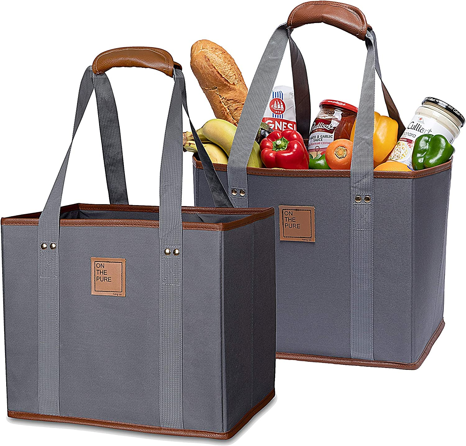 Premium Reusable Grocery Shopping Tote Box Bags(Set of 2, Gray)–Waterproof, Cotton+ material, Leather insert, Durable, Organizer, Collapsible, Foldable, Heavy Duty, Large, Reinforced Sides and Bottom