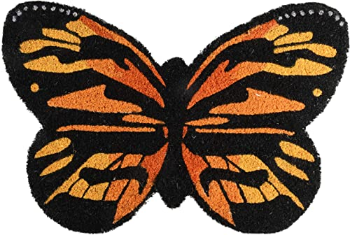 Esschert Design RB201 Butterfly Coir Doormat, Orange Black