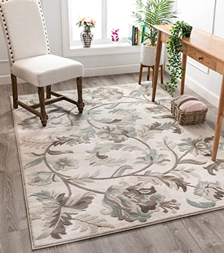 Well Woven Lilla Cream/Beige Floral Paisley Pattern Area Rug 5×7 5'3″ x 7'3″