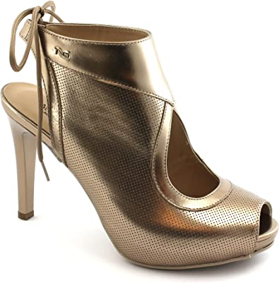 Sandalo Donna Laminato Nero Giardini con Tacco Oro
