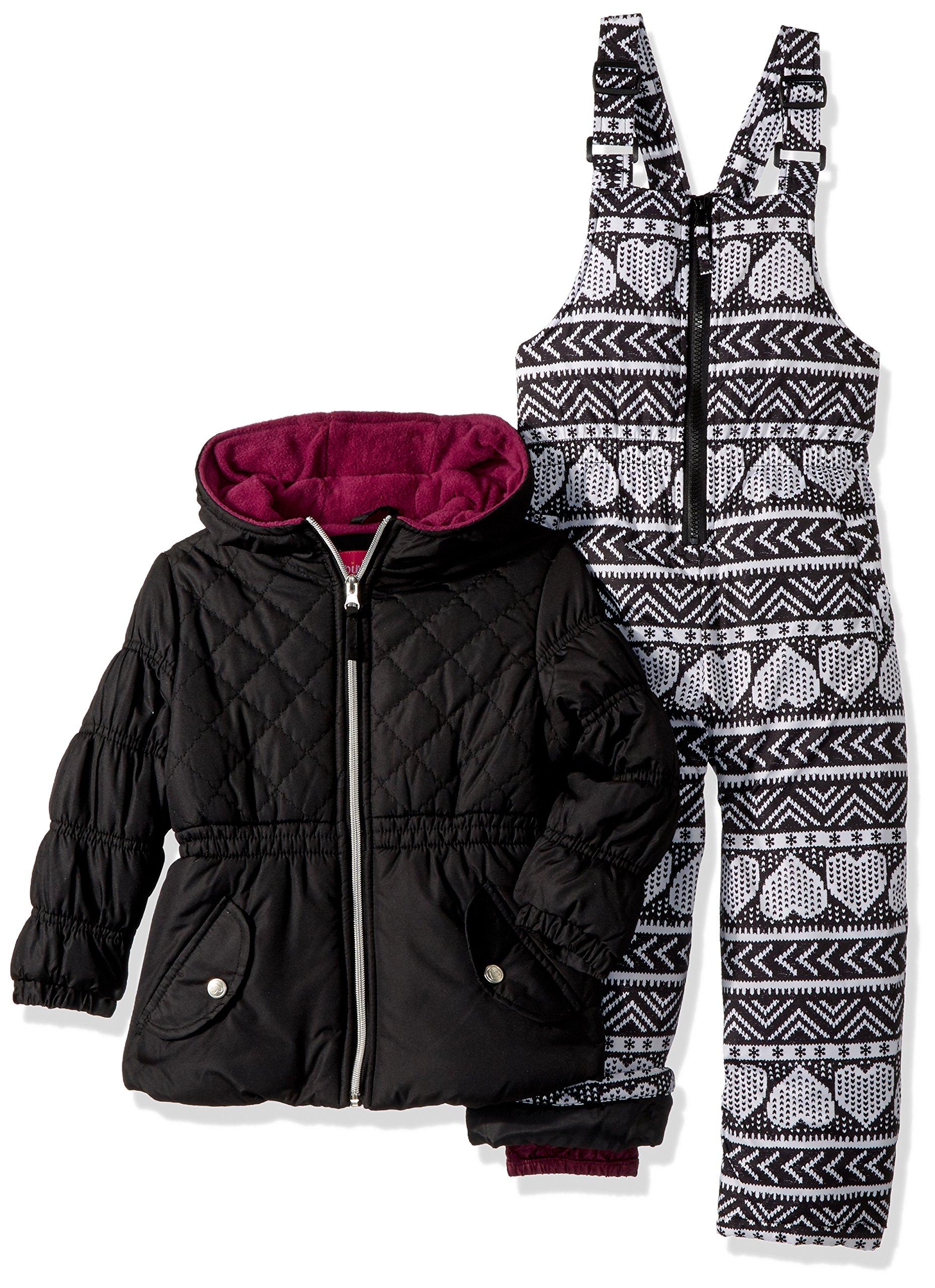 Pink Platinum Little Girls' Printed Super Snowsuit, Black, 4