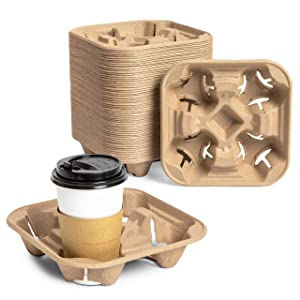 Pulp Fiber Coffee Carrier, 4 Cup Carry Holder for Hot and Cold Drinks (60 Pack)