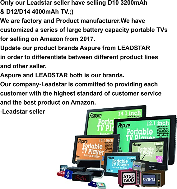 7 Inch portátil pequeño LED TV Digital DVB-T para Coche, Camping, al Aire Libre o Cocina. Integrado Recargable Televisión/Monitor: Amazon.es: Electrónica