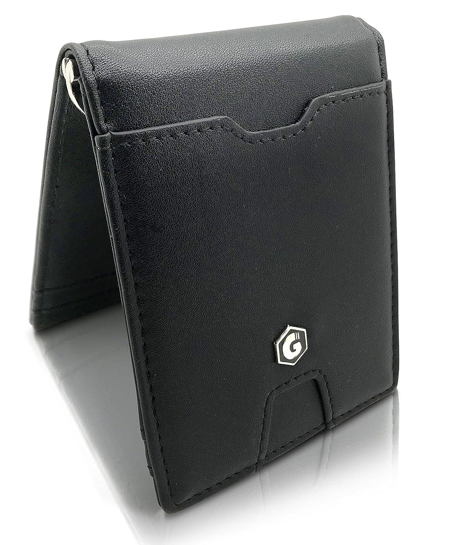 Slim Billetero Tarjetero Para Hombre De Crédito - Clip de Dinero Cuero Cartera - Con bolsillo para monedas - Galeara design Negro: Amazon.es: Equipaje