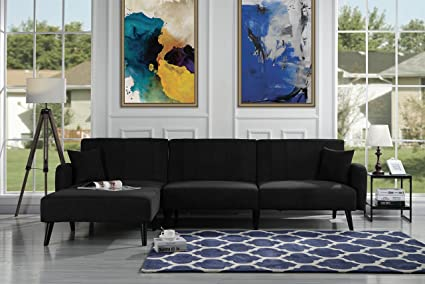 Casa Andrea Upholstered Mid Century Linen Fabric Futon Sectional Sofa, 112