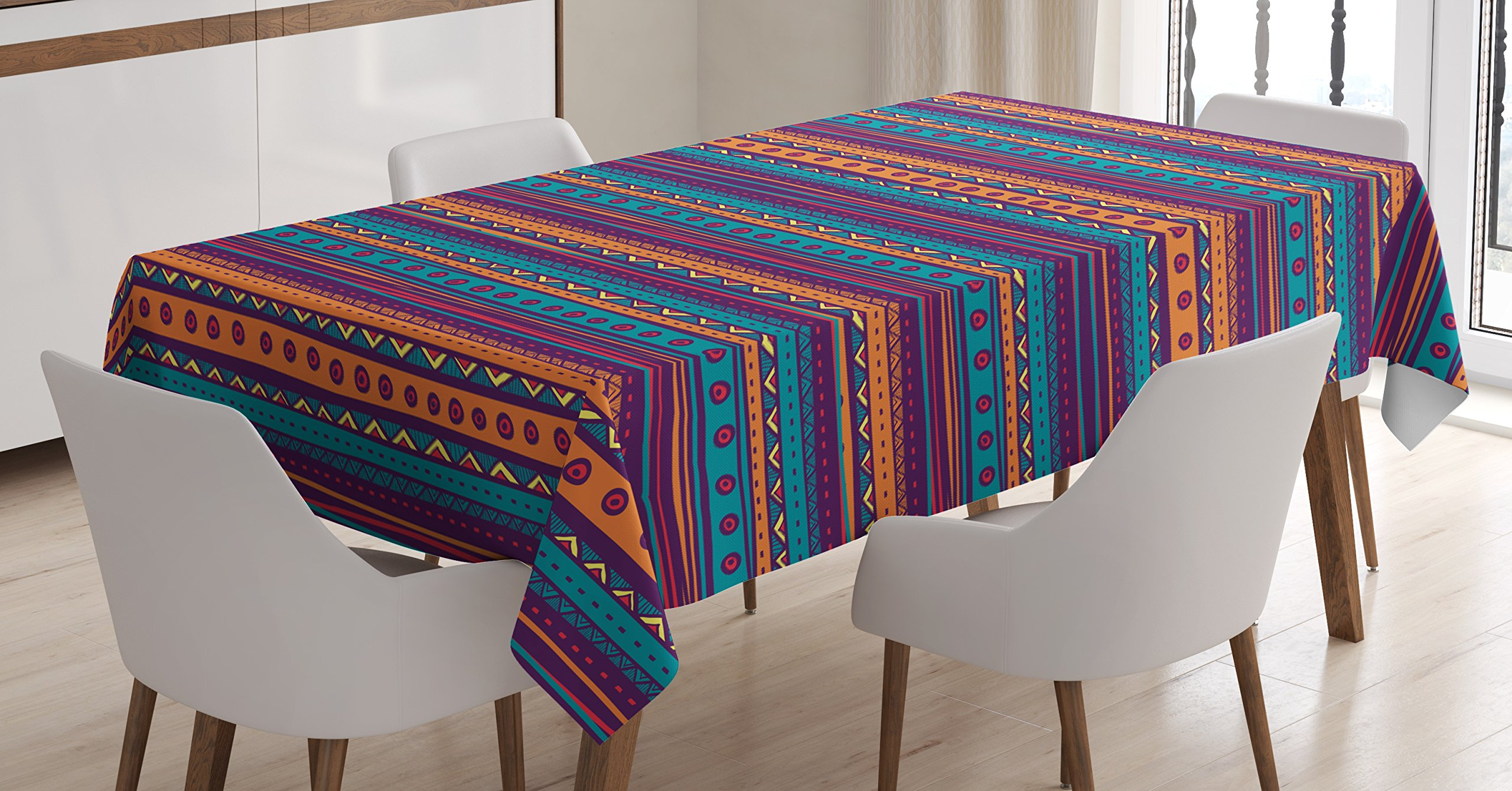 Ambesonne Tribal Tablecloth, Striped Retro Aztec Pattern with Rich Mexican Ethnic Color Folkloric Print, Dining Room Kitchen Rectangular Table Cover, 60 W X 84 L inches, Teal Plum and Orange