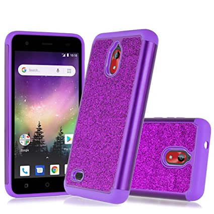 Compatible fit Coolpad Illumina 3310A (Boost, Virgin Mobile) 2018 Cute  Glitter Bling Sparkle Dual Layer Protective Hybrid Shockproof Case [Free  Screen