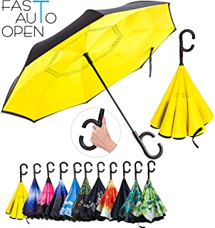 Double Layer Inverted Umbrella – Reverse Auto Open Umbrella - Windproof UV Protection Upside Down Umbrella