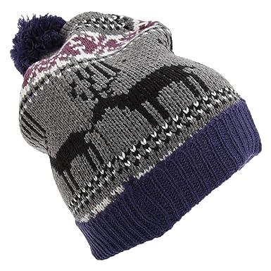 Mens Reindeer Design Christmas Chunky Bobble Hat (One Size) (Blue ... 5b6c8d7409e