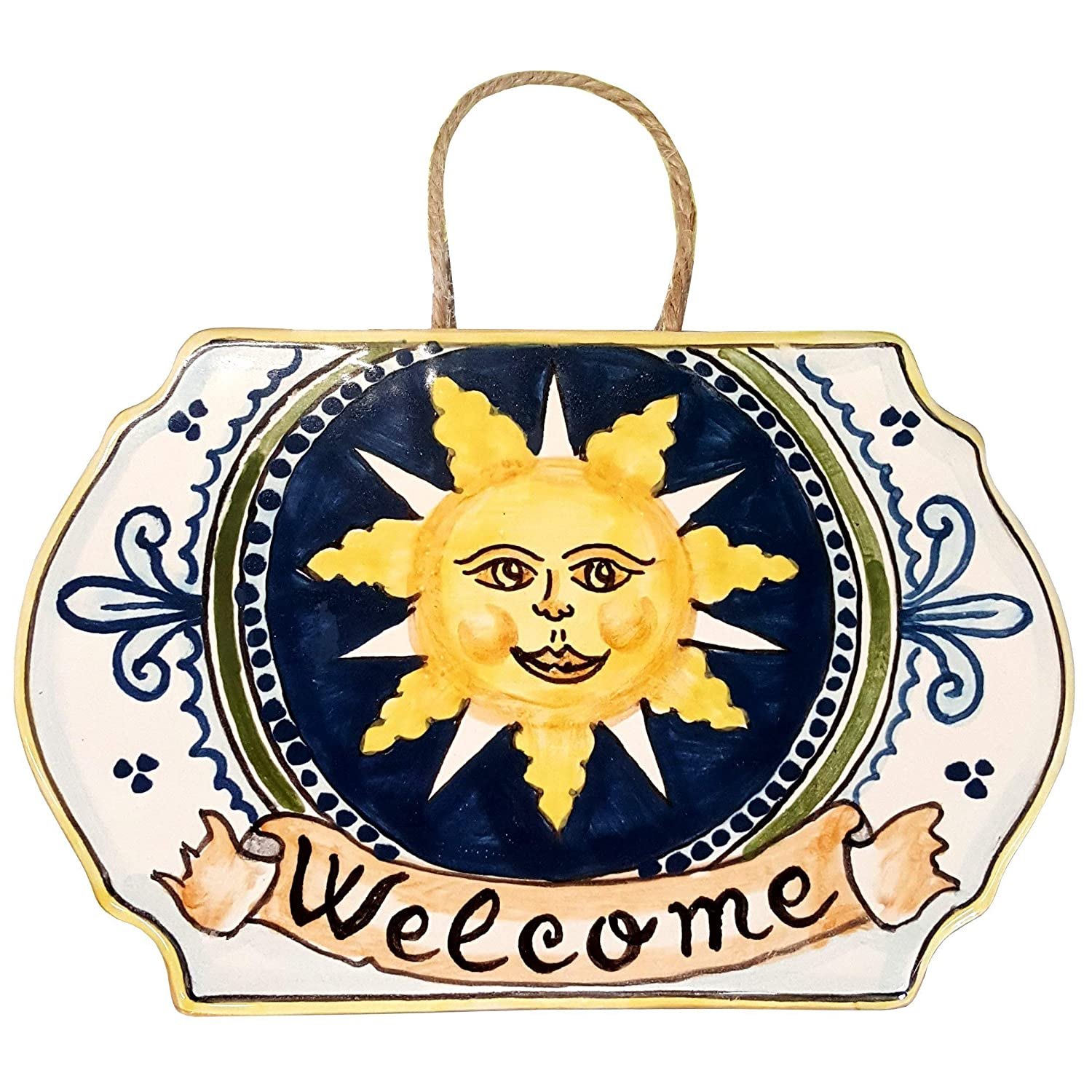 Italian Ceramic Art Pottery Tile House Plaques Decorative Sun Welcome Hand Painted Made in ITALY Tuscan CERAMICHE DARTE PARRINI