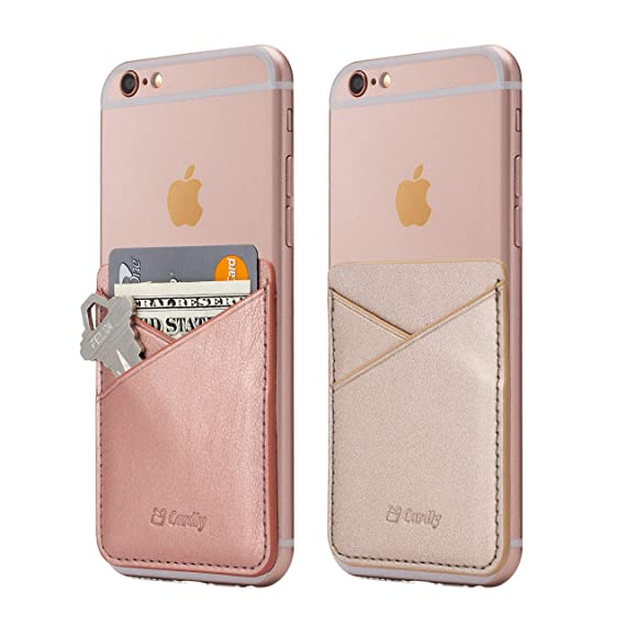 timeless design 8a789 4bd6c (Two) Cell Phone Stick On Wallet Card Holder Phone Pocket for iPhone,  Android and All Smartphones. (Rose Gold)