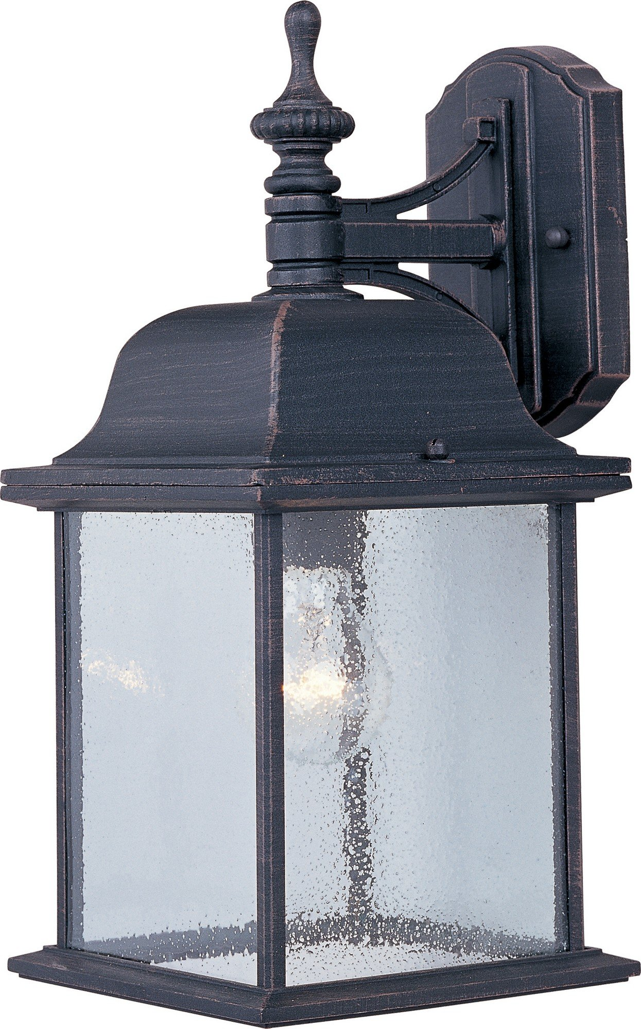 Maxim 1056RP Senator 1-Light Outdoor Wall Lantern, Rust Patina Finish, Seedy Glass, MB Incandescent Incandescent Bulb , 100W Max., Dry Safety Rating, 2700K Color Temp, Standard Dimmable, Glass Shade Material, 10350 Rated Lumens
