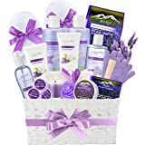 Jasmine Lavender Bath Gift Basket for Women! XL Spa Gift Basket for Relaxing at Home Spa Kit. Purelis Aromatherapy Bath…