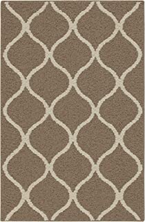 product image for Maples Rugs Rebecca Contemporary Kitchen Rugs Non Skid Accent Area Carpet [Made in USA], 2'6 x 3'10, Café Brown/White