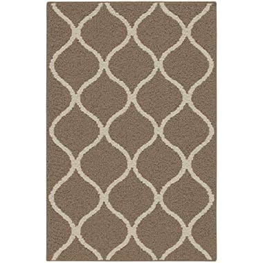 Maples Rugs Kitchen Rug - Rebecca 2'6 x 3'10 Non Skid Small Accent Throw Rugs [Made in USA] for Entryway and Bedroom, Café Brown/White