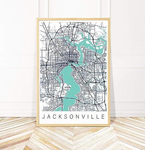 photograph regarding Printable Map of Jacksonville Fl identify : Jacksonville Map Artwork Print - Map of Jacksonville