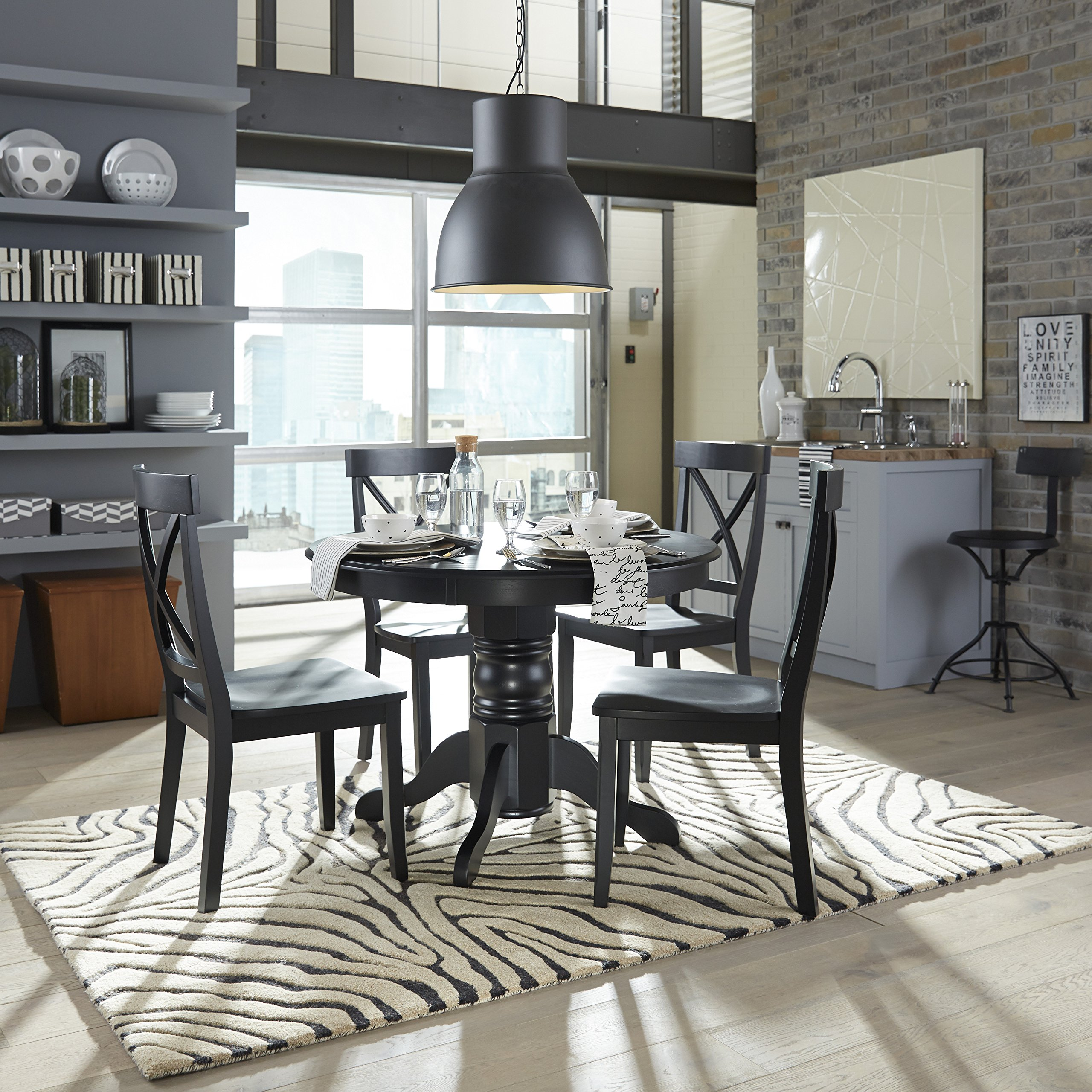 Classic Black 42'' Round Pedestal Dining Table by Home Styles by Home Styles (Image #2)