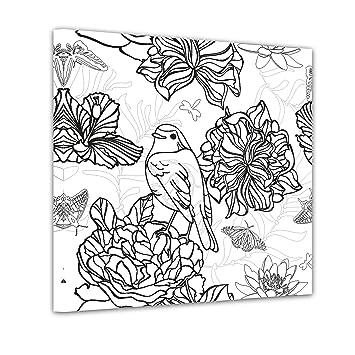 Bilderdepot24 Vogel Mit Blumen Ausmalbild Auf Leinwand