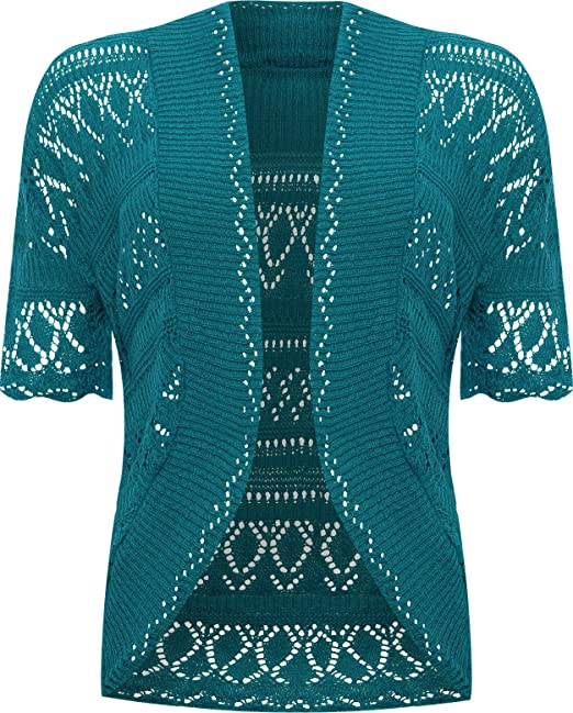 Papermoon Womens Plus Size Crochet Knitted Short Sleeve Cardigan At
