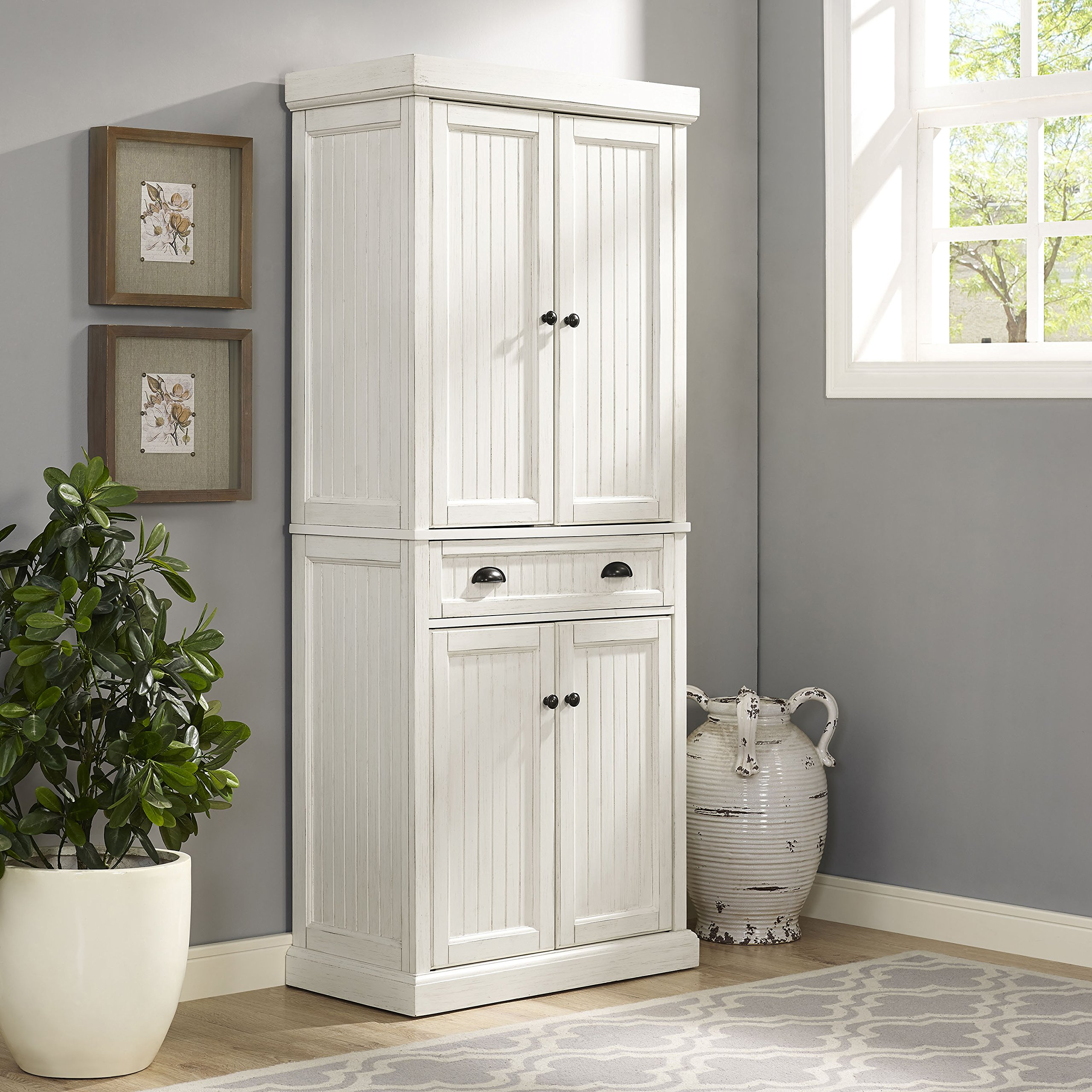 Crosley Furniture Seaside Kitchen Pantry Cabinet - Distressed White by Crosley Furniture (Image #12)