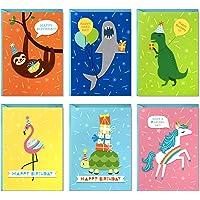 Hallmark Birthday Cards for Kids Assortment, 48 Cards with Envelopes (Dinosaurs, Sloths, Unicorns, Flamingos, Turtles…