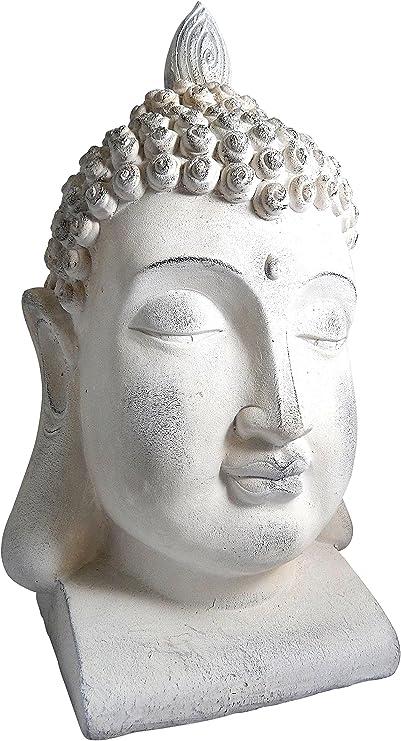 Cabeza de Buda XXL 54 cm para el jardín Figura Buda blancas, resistente, para decoración de la Terraza o exterior: Amazon.es: Hogar