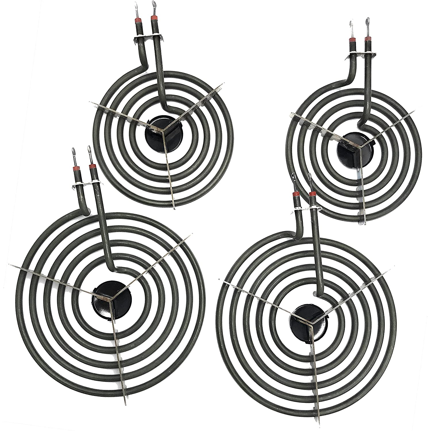 "4 Pack MP22YA Electric Range Burner Element Unit Set 2- MP15YA 6.25"" 2- MP21YA 8.25"""
