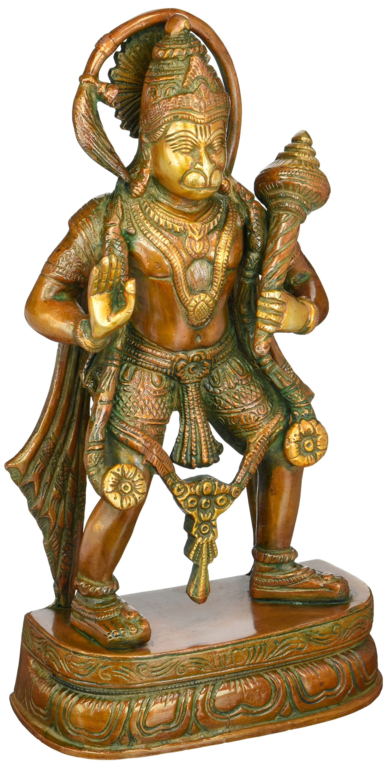 Hanuman Statue - 11 inches Brass Statue of Lord Hanuman a Hindu God by Lotus Sculpture Imported from India