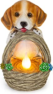 Puppy Dog with Basket Solar Powered LED Outdoor Decor Garden Light