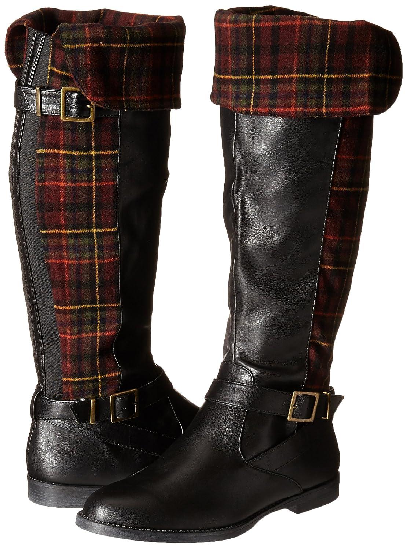 Romy II Tartan Fold Over Double-Buckle Straps Low-Heel Women's Black Pirate Boots - DeluxeAdultCostumes.com