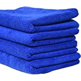 SOBBY Microfibre Cleaning Cloth Set of 4 - 40 cm x 40 cm - 340 gsm (Blue)