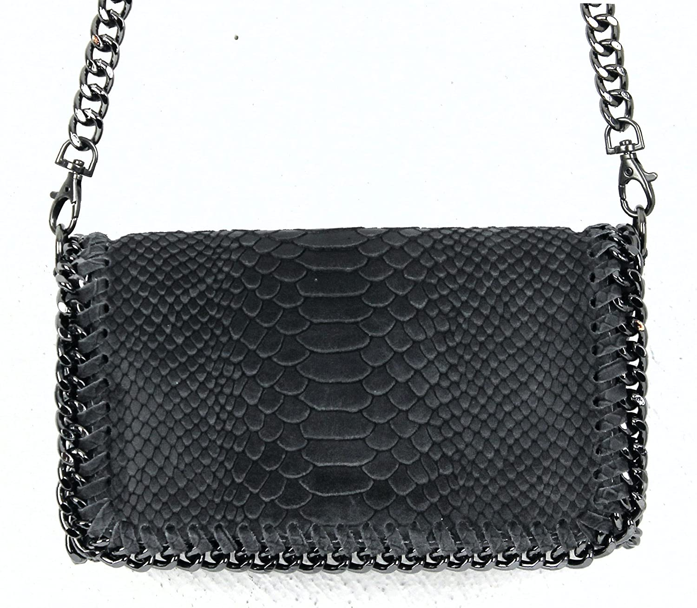 111f1c749918e Handtasche Damen Clutch LANI klein Leder mit Kette Abendtasche (Dunkelgrau  Echtleder Reptiloptik)  Amazon.de  Koffer