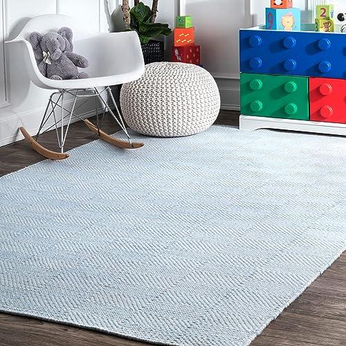 nuLOOM Agoja Hand Tufted Wool Rug, 5 x 8 , Light Blue