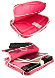 "VanGoddy Pindar Pink White Trim Messenger Bag w/USB HUB and Wireless Mouse for Razer Blade Stealth 13.3"" Laptop"