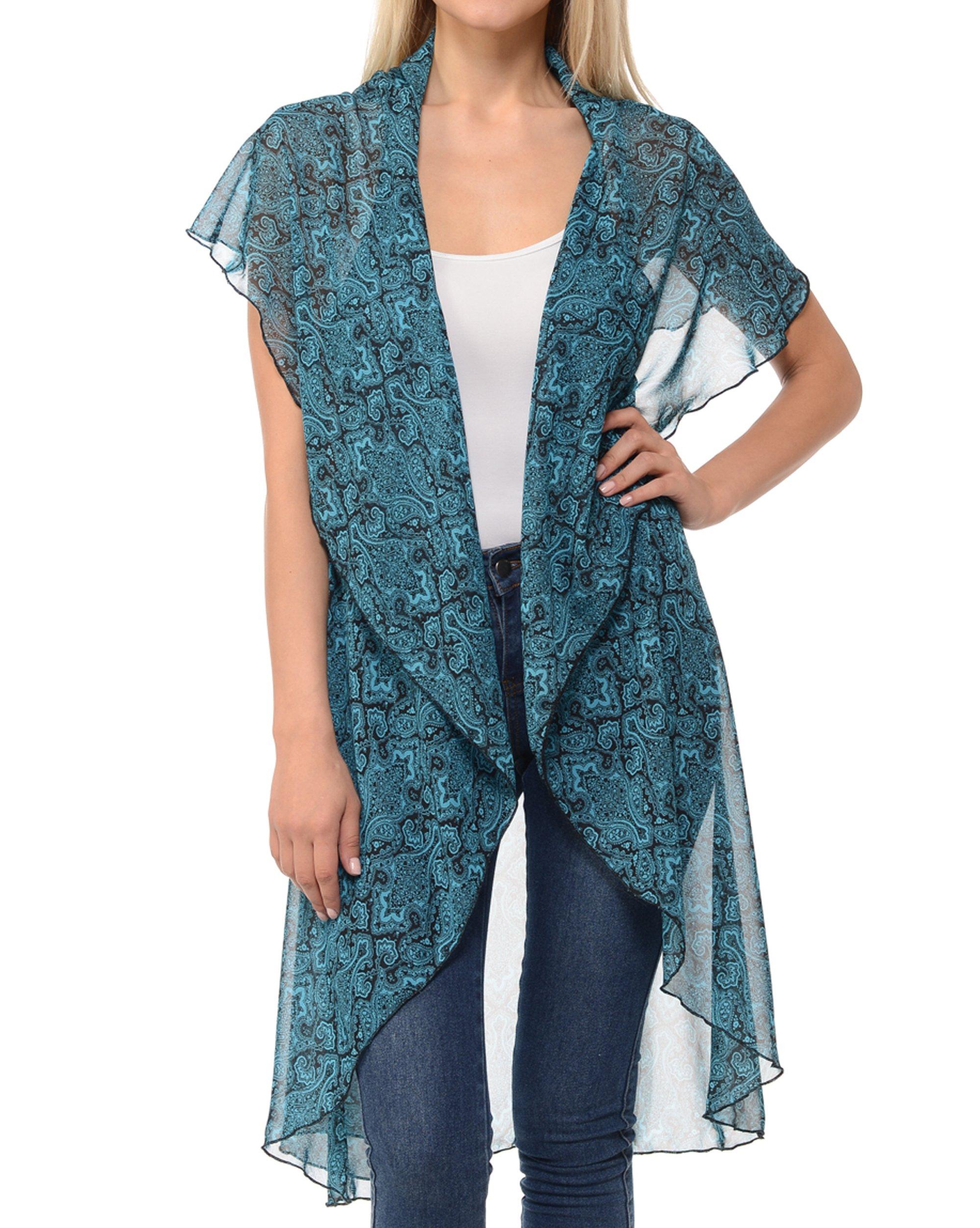 Basico Women's Open Asymmetrical Hem Print Chiffon Vest Cardigan (Small/ Medium, Vest Cape- Teal/ Paisley)