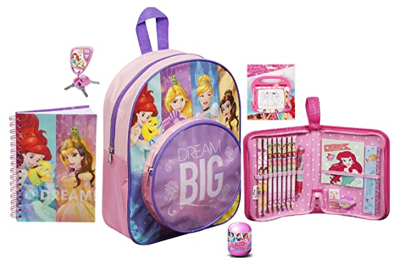 18c73f64c08 Disney Princess Junior School Bag Backpack Pencil Case Toy Bundle for  Children Toddler Kids - 6 Piece  Amazon.co.uk  Clothing