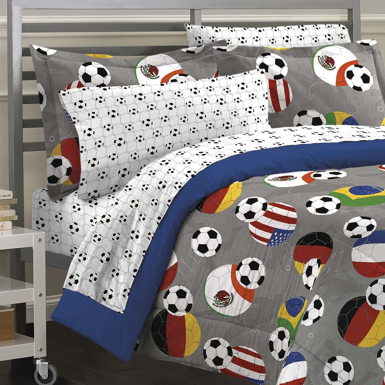 amazoncom my room soccer fever teen bedding comforter set gray twin home u0026 kitchen