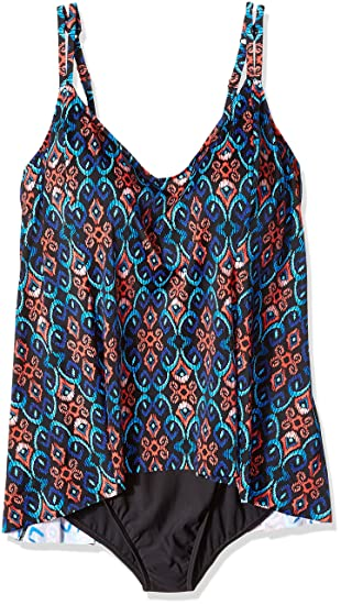 94f73030b8a77 Shape Solver Women s Tapestry Princess Seam Fauxkini-Plus Size One Piece  Swimsuit  Amazon.co.uk  Clothing