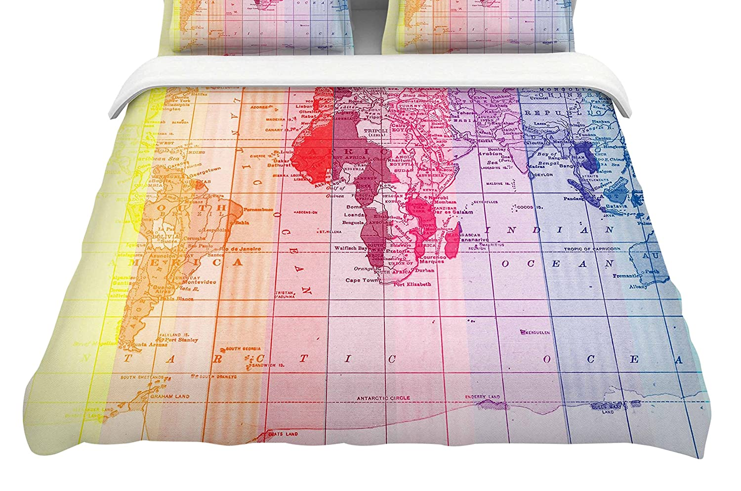 88 x 88 Kess InHouse Catherine Holcombe Rainbow World Map Multicolor Travel Cotton Queen Duvet Cover