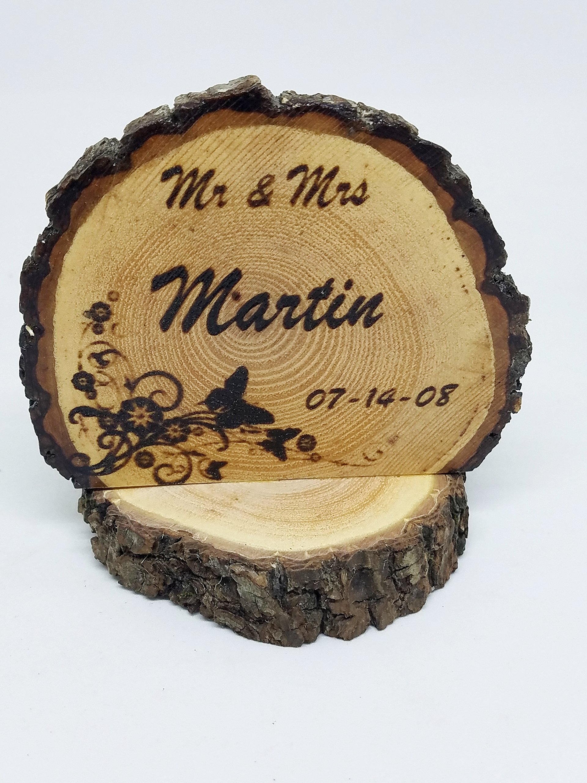 Personalized Wedding Cake topper Butterflies Custom burned onto a Wood slice Fall / Winter / Summer forest woodland Weddings - Anniversaries - Bridal shower - Engagement party