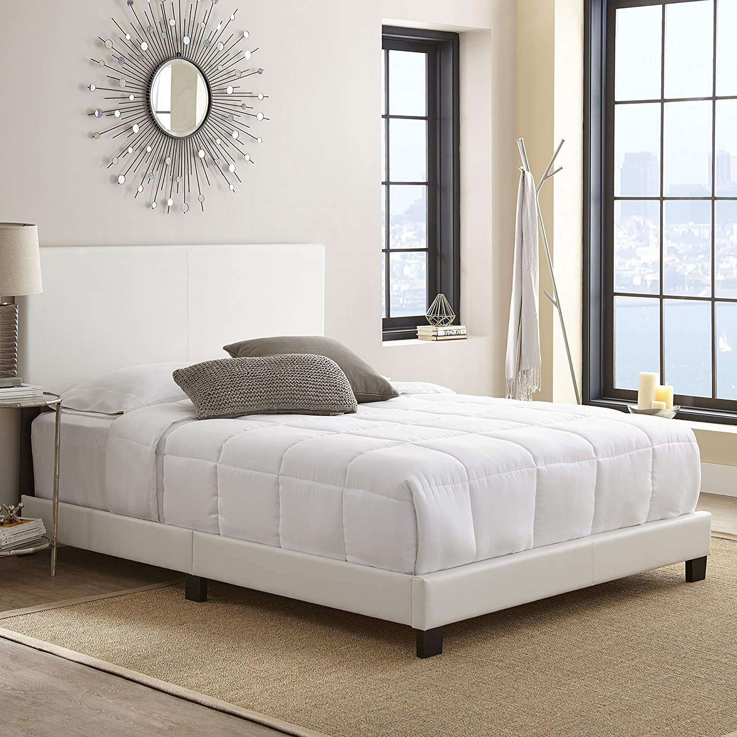 new concept b007e 69fa7 Boyd Sleep Montana Upholstered Platform Bed Frame with Headboard: Faux  Leather, White, Full