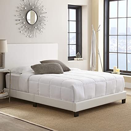 the latest 92fc1 8f4d9 Boyd Sleep Montana Upholstered Platform Bed Frame with Headboard: Faux  Leather, White, King